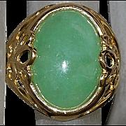 14K Green Jade Ring - 1980's