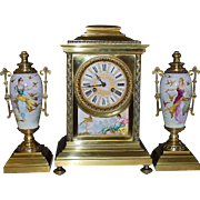 French 8 day Bronze and Sevres Porcelain Clock Set - 1870
