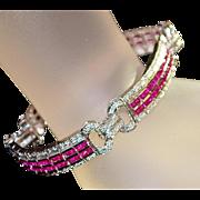 18K w/g Ruby and Pave Diamond Line Bracelet - 1980's
