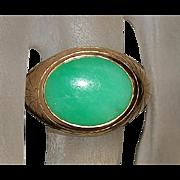 14K Apple Green Jade Ring - 1960's