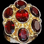 14K Large Garnet Cluster Ring - 1980's