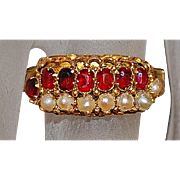 English Victorian 15K Garnet and Pearl Ring - 1882