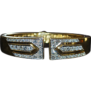 18K Heavy Custom Pave Diamond Gold Cuff Bracelet - 1980's