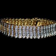 18K Gold and Diamond Line Bracelet  - 1980's