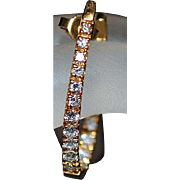 Pair of 18K Large Custom Diamond Hoop Earrings - 1980's