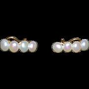 14K Fresh Water Pearl Earrings - 1980's