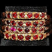 18K Rose Gold Ruby Harem Ring - 1960