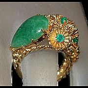 14K Custom Jade and Emerald Ring - 1960's
