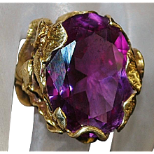 14K Large Custom Color Change Sapphire Ring - 1970's
