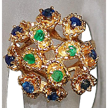 14K Emerald and Blue Sapphire Ring - 1980