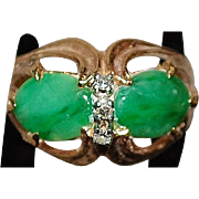 14K Apple Green Jade and Diamond Ring - 1960's