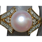 14k 10 MM Pearl and Diamond Ring
