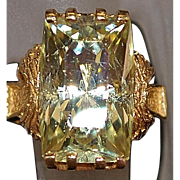 14K Oro Verde Quartz Ring - 1970's
