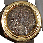18K Heavy Italian Gold Roman Coin Ring