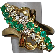 14K Emerald and Diamond Waterfall Ring