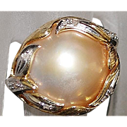 14K Mabe Pearl and Diamond Ring