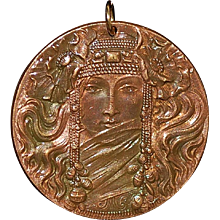 French Bronze Art Nouveau Pendant - 1905