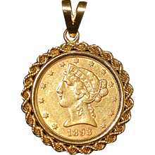 14K Gold Pendant with $5.00 Gold Coin - 1893