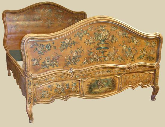 French 19th Century Painted Bed