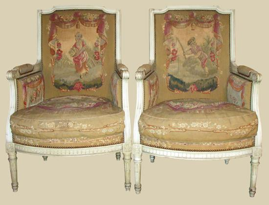 Gorgeous Pair of 19th C. Painted Bergeres