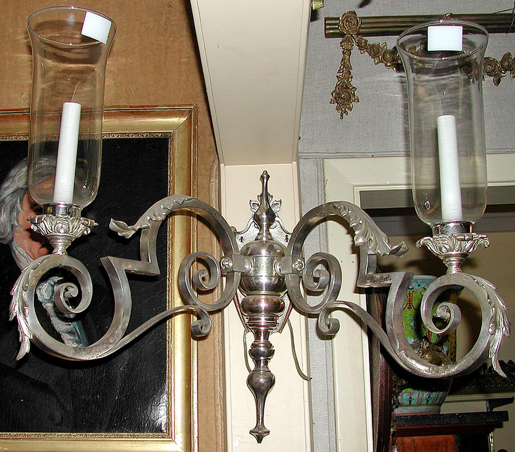Pair of Silverplated Sconces
