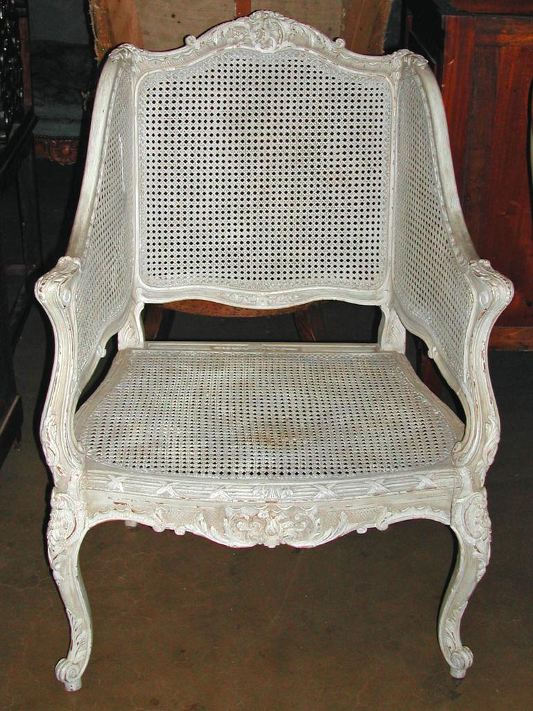 Painted Louis XV Caned Bergere
