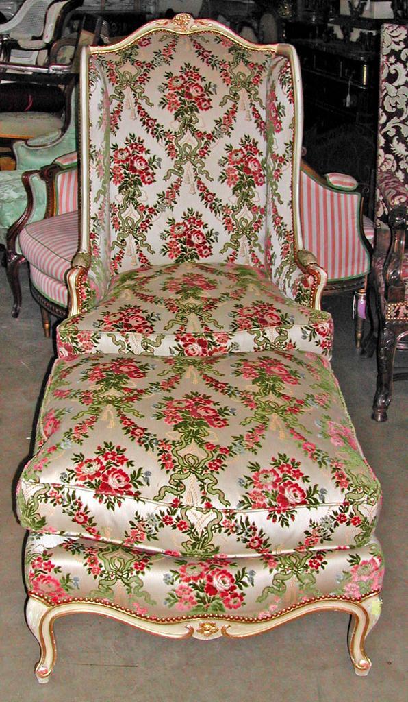 Gorgeous Louis XV Bergere Chair & Ottoman