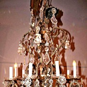 Romantic French Bronze and Crystal Chandelier