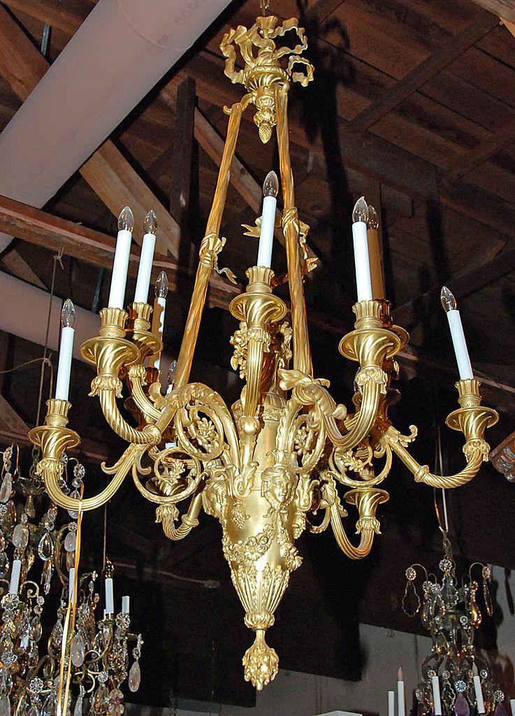French Dore Bronze Chandelier