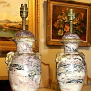 Pair of French Marble Table Lamps