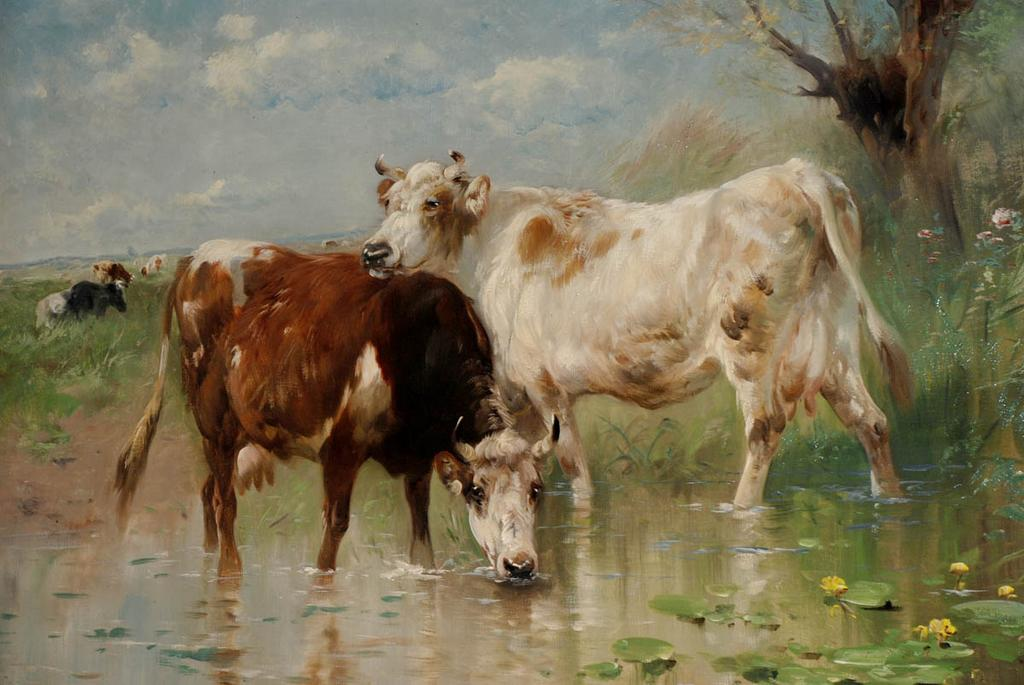 cattle in the stream henry schouten sold on ruby lane. Black Bedroom Furniture Sets. Home Design Ideas