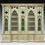 Massive Italian Painted and Parcel Gilt Cabinet