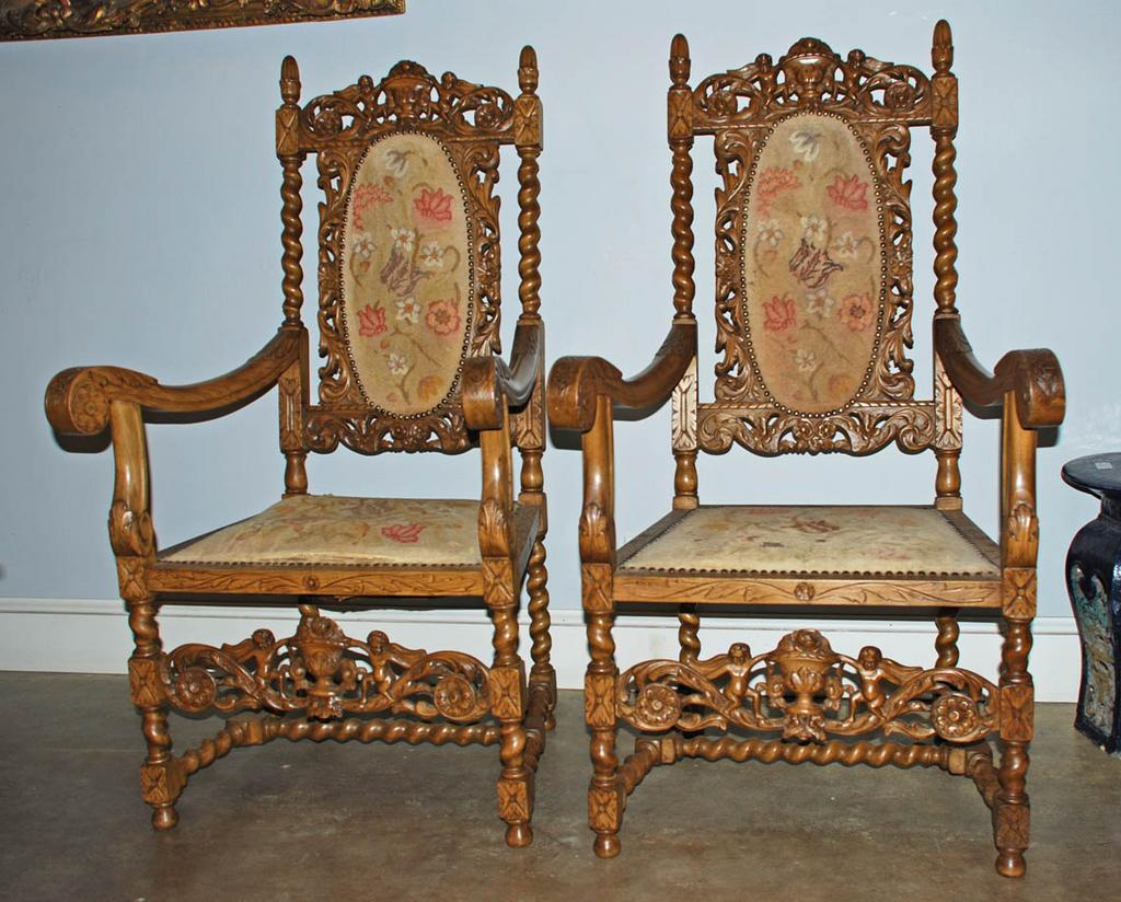 Ornately Carved Armchairs