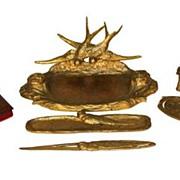 French Art Nouveau Gilt Bronze Desk Set