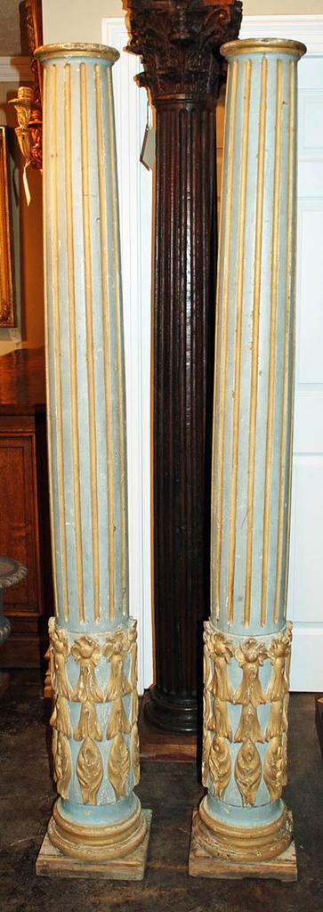 Nicely Carved Pair of Portuguese Painted Columns