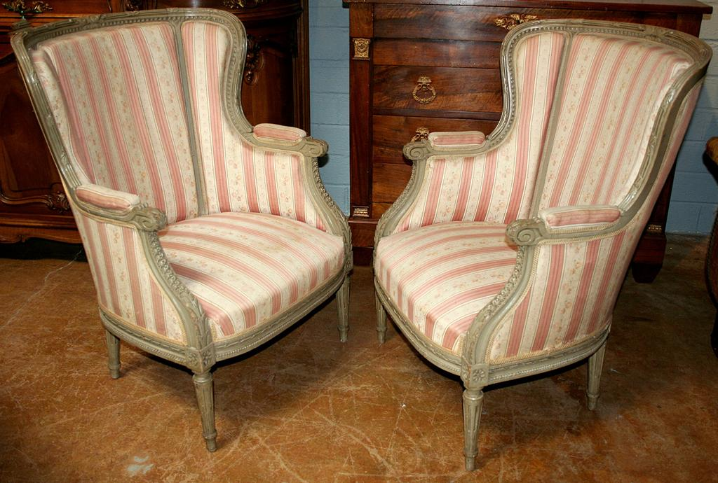Regal Pair of Louis XVI Style Bergeres