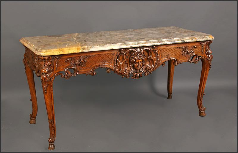 French Walnut Marble Top Console