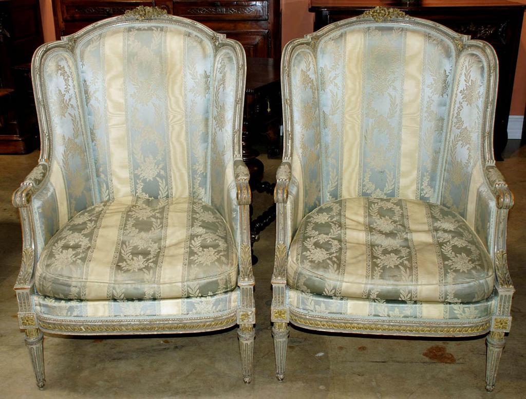 Stunning Pair of Louis XVI Style Bergeres