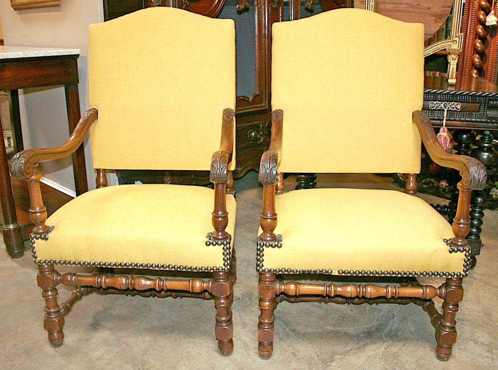 Nicely Carved Pair of French Armchairs