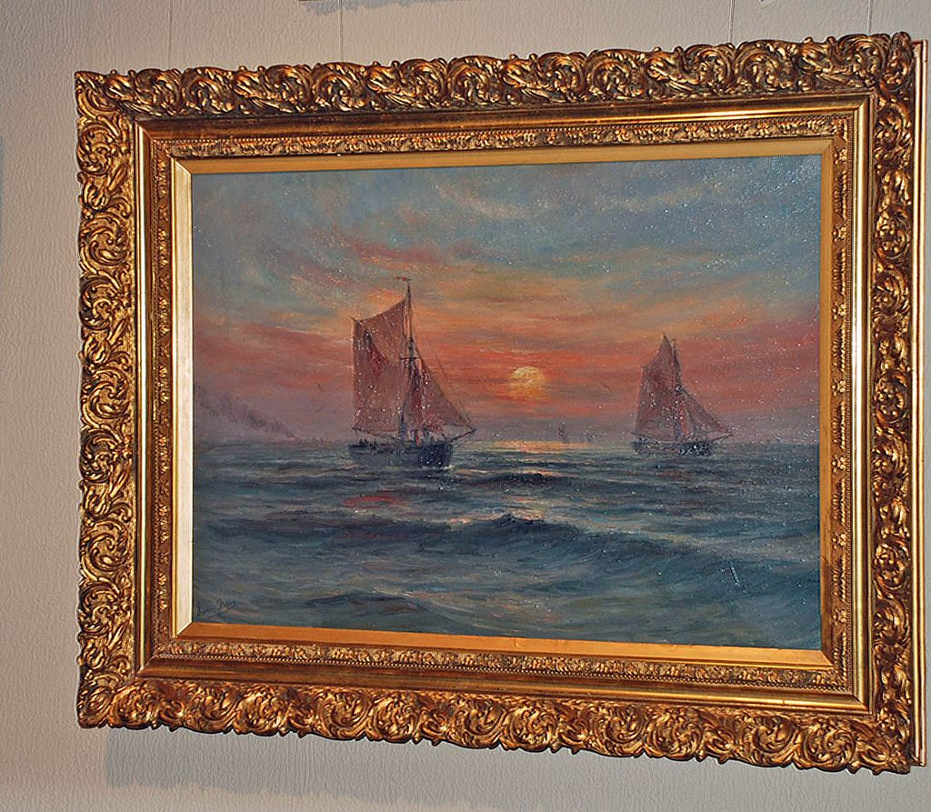 "Serene Oil on Canvas ""Seascape with Sailboats"" Signed"