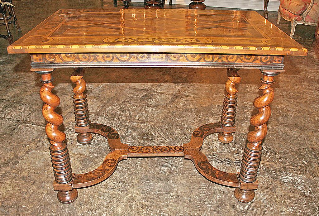 French Walnut Marquetry Inlaid Table