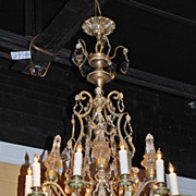 Beautiful Crystal and Bronze Chandelier