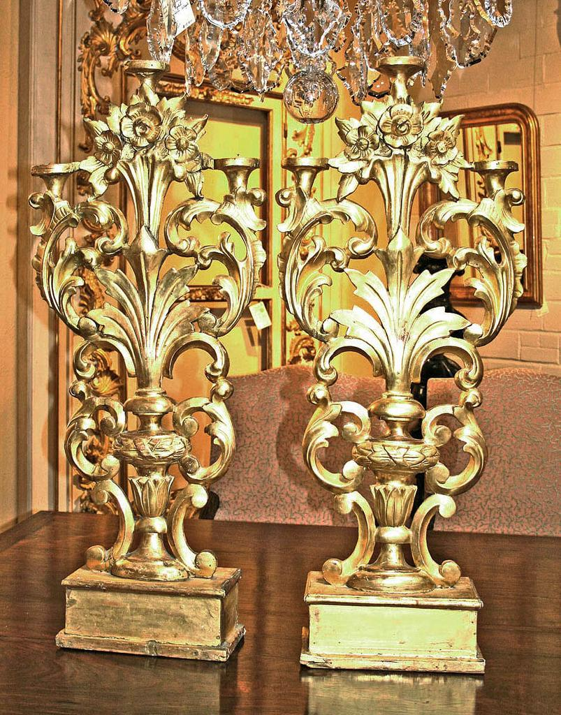 Pair of French Gilt Altar Candlesticks