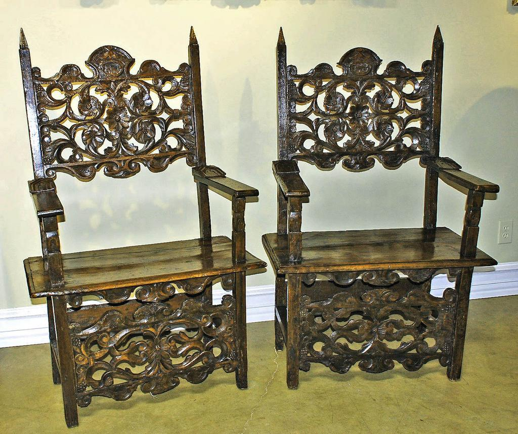 Phenomenal Pair of Italian Renaissance Carved Chairs