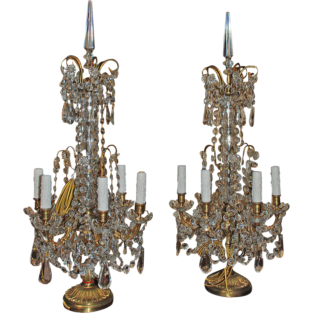 Stunning Pair of French Crystal and Bronze Girandoles