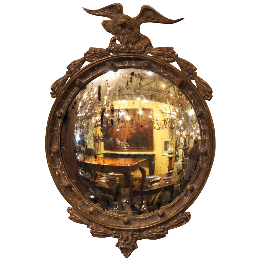 Painted English Regency Eagle Convex Mirror Sold On Ruby Lane