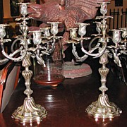 Pair of Silver Gilt over Bronze Candelabras