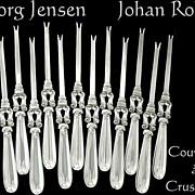 Georg Jensen J.Rohde Sterling Silver Rare Crustaceans Service 12 pc.