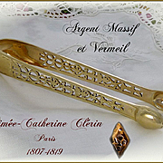 Antique French Sterling Silver & Vermeil - Pierced - Sugar Tongs Paris 1819-1838