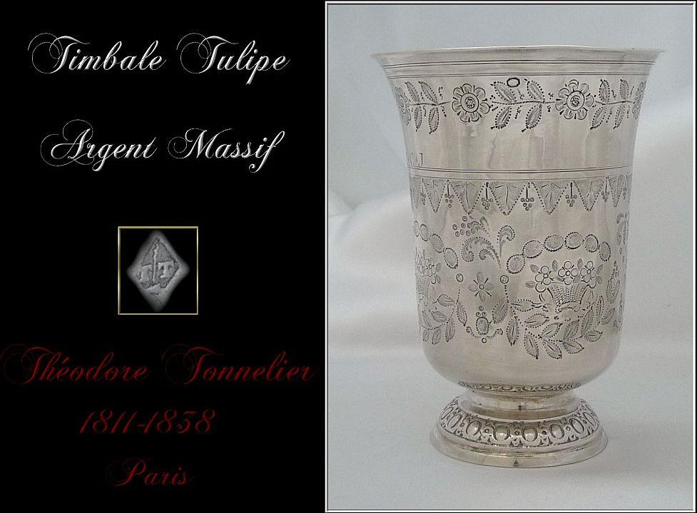 Antique French Sterling Tumbler Engraved 1809-1819